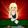 Woman playing craps attractive young blonde on casino throwing dice Stock Photography