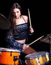 Woman playing  drum and cymbals. Stock Photography