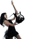 Woman playing electric guitar player one on studio isolated white background Royalty Free Stock Image