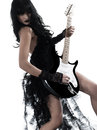 Woman playing electric guitar player one on studio isolated white background Royalty Free Stock Photography