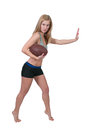 Woman playing football beautiful young a game of running with the ball Royalty Free Stock Images