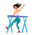 Woman playing on synthesizer. Female musician. Female musician keyboardist. Vector illustration, on white