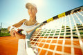 Woman playing tennis beautiful sporty girl very passionately Stock Photos
