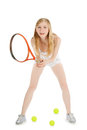 Woman playing tennis waiting tennis ball over white Stock Photography