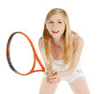 Woman playing tennis waiting tennis ball over white Royalty Free Stock Images