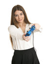 Woman playing video game with joystick Royalty Free Stock Photo