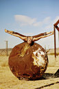 Woman playing yoga on a rust ball Royalty Free Stock Image