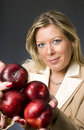 Woman  plums fruit for healthy life Stock Image