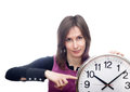 Woman pointing clock isolated white Royalty Free Stock Images