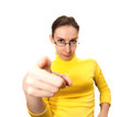 Woman pointing finger toward isolated white Stock Photo