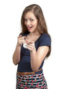 Woman pointing fingers beautiful smiling teenage her Stock Image