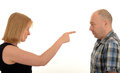 Woman pointing at a man Royalty Free Stock Photo