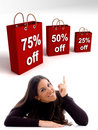 Woman pointing at the shopping bags Royalty Free Stock Images
