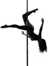 Woman pole dancer silhouette Royalty Free Stock Photo