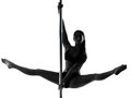Woman pole dancer silhouette one caucasian dancing in studio isolated on white background Stock Images