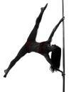 Woman pole dancer silhouette Royalty Free Stock Photo