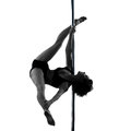 Woman pole dancer silhouette one dancing in studio isolated on white background Royalty Free Stock Photos