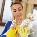 Woman polishing silverware Stock Images