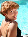 image photo : Woman by the pool