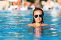 Woman in a pool sexy relaxing swimming Royalty Free Stock Photos