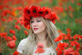 Woman and Poppy Flowers Royalty Free Stock Images