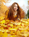 Woman portrait in autumn color Royalty Free Stock Image