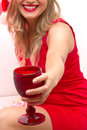 Woman portrait beautiful girl hold wine glass christmas santa hat Stock Photos