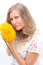 Woman portrait with flower attractive on white background Stock Image