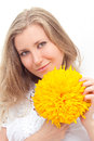 Woman portrait with flower attractive on white background Stock Images