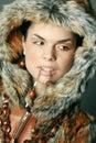 Woman portrait fur Royalty Free Stock Photo