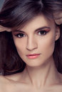 Woman portrait with Makeup brown Hair Stock Images