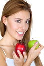 Woman portrait with two apples Stock Photos