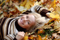 Woman portret in autumn leaf Royalty Free Stock Images
