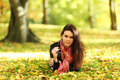 Woman portret in autumn leaf Royalty Free Stock Photography