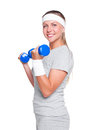 Woman posing with blue dumbbells Stock Image