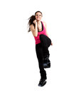 Woman posing kangoo jumps boots isolated white studio Stock Photos