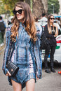 Woman posing outside gucci fashion shows building for milan women s fashion week italy september poses on september in Stock Photos