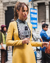 Woman posing outside gucci fashion shows building for milan women s fashion week italy september poses on september in Stock Images