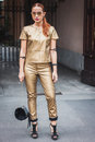 Woman posing outside gucci fashion shows building for milan women s fashion week italy september poses on september in Royalty Free Stock Photo