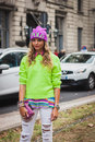 Woman posing outside gucci fashion shows building for milan women s fashion week italy september poses on september in Stock Photography
