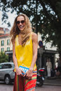 Woman posing outside gucci fashion shows building for milan women s fashion week italy september poses on september in Stock Image