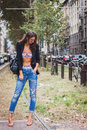 Woman posing outside gucci fashion shows building for milan women s fashion week italy september poses on september in Royalty Free Stock Images