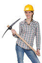 Woman posing with pick-axe Stock Images