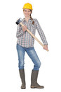 Woman posing with sledge hammer Royalty Free Stock Photography