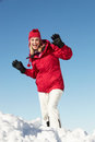 Woman Posing In Snow On Ski Holiday In Moutains Royalty Free Stock Photos