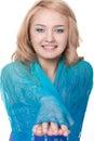 Woman posing wearing blue dress Stock Images