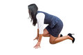 Woman in position to run against a white background Royalty Free Stock Photo