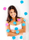 Woman with post-its Royalty Free Stock Photo