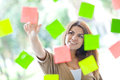 Woman with post-its Stock Photography