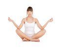 Woman practicing yoga sporty in cotton underwear lotus pose Royalty Free Stock Photography